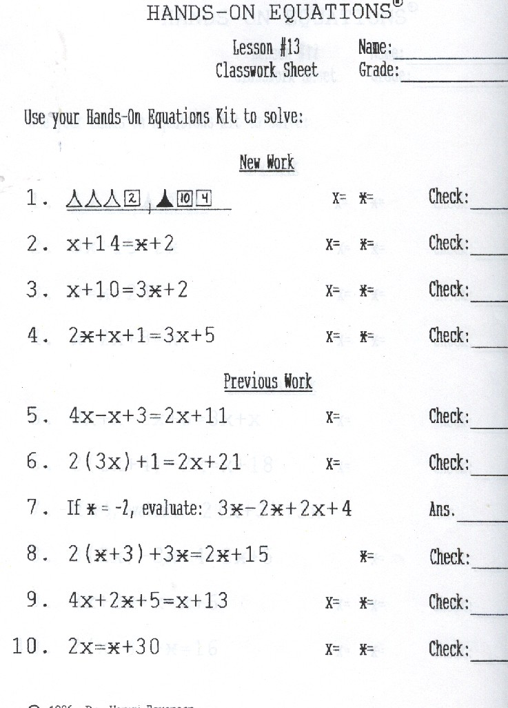 Hands On Equations Lesson 13 Answer Key Tessshebaylo. Hands On Equations Tessshlo. Worksheet. Hands On Equations Worksheet At Clickcart.co